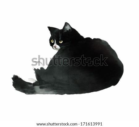 Black watercolor cat turned back - stock photo