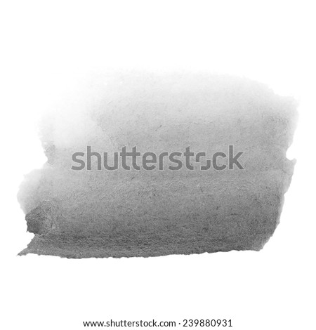 Black watercolor  hand painted brush strokes  isolated on white background, grunge paper  texture,  (with clipping path) - stock photo