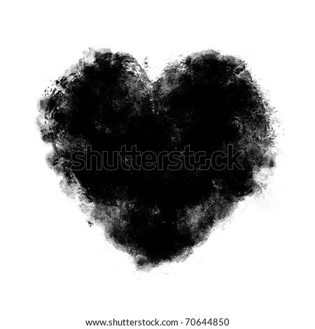 black watercolor Painted Heart  on white background - stock photo