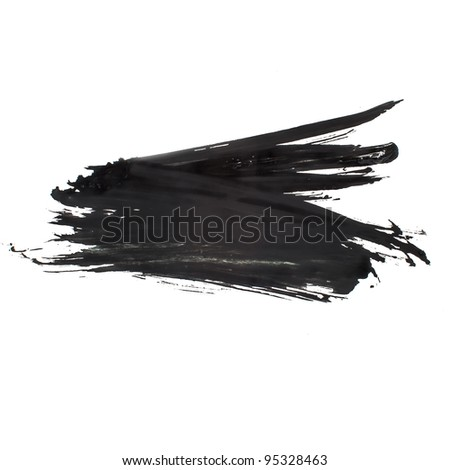 black watercolors spot blotch isolated - stock photo
