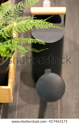 Black watering can on wooden floor with green fern in a wooden basket (selective focus) - stock photo