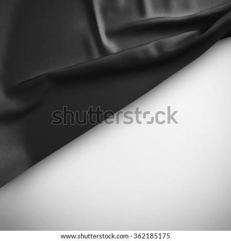 Black Waving flag background. Luxury fabric background. - stock photo