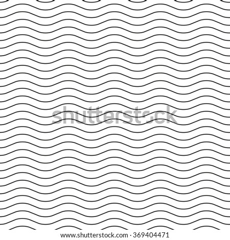 Black wavy lines on a white background. Seamless pattern, illustration