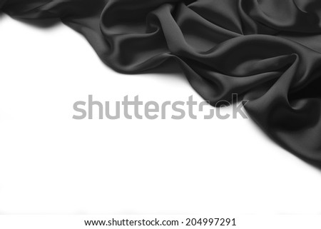 Black wavy Silk background texture - stock photo