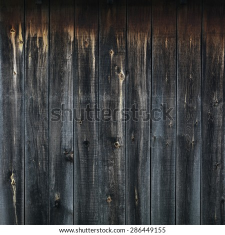 Black weathered wooden boards, wood wall texture background - stock photo