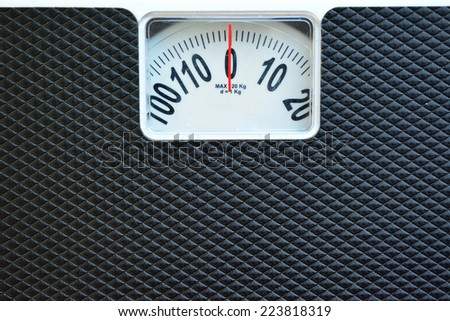 Black weight scale. - stock photo