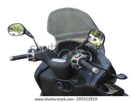 black wheel motorcycle on white background - stock photo