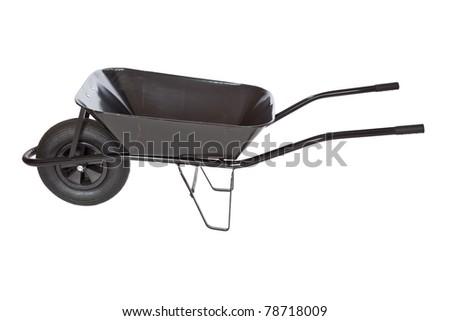 black wheelbarrow  on white background - stock photo