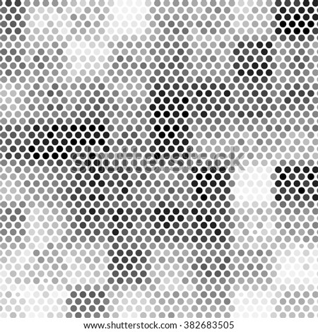 Black white and gray checkered floor with polka dot tiles. Abstract square polka dot background pattern. Spotted line light illustration - stock photo