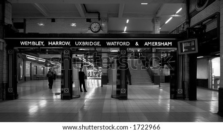 Black & White. Baker Street Station in the London Underground