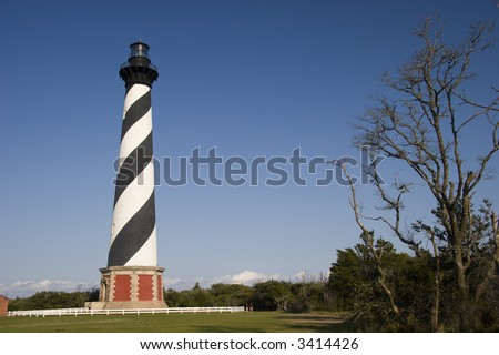 Black & White Brick, Spiral-Striped Lighthouse Built in 1869-1870   Outer Banks, North Carolina - stock photo