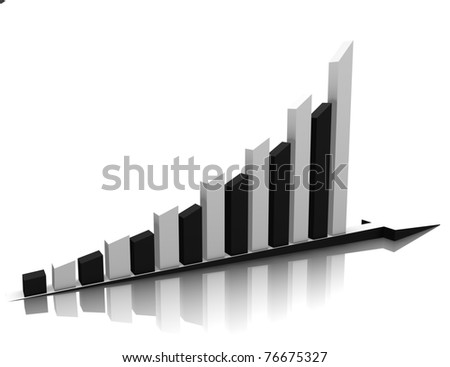 Black white business graph is reflected on the white.