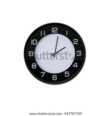 black white  clock on white background