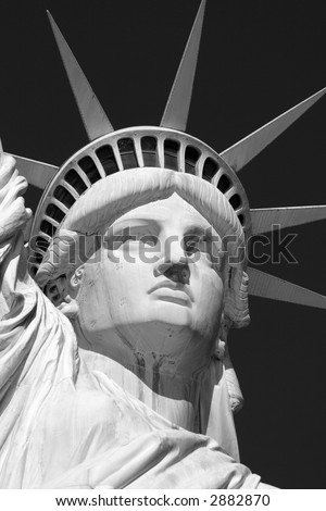 Black & White Close-up of the Statue of Liberty's Face - stock photo