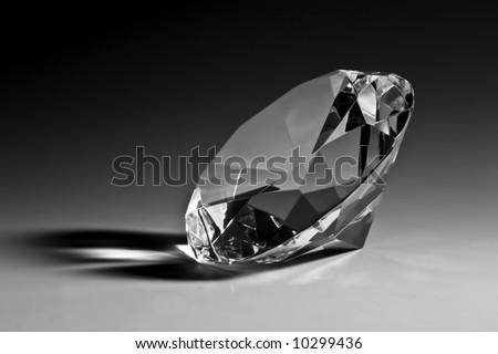 Black & white diamond close-up - stock photo