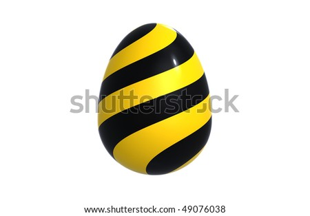 Black white easter egg isolated on white render