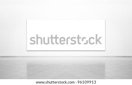 Black & white exhibition room with picture and white background - stock photo
