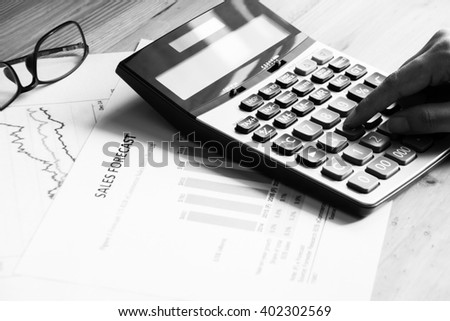Black & white Financial accounting sales forecast graphs analysis - stock photo