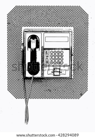 Black-white illustration of the phone booth telephone close up view - stock photo