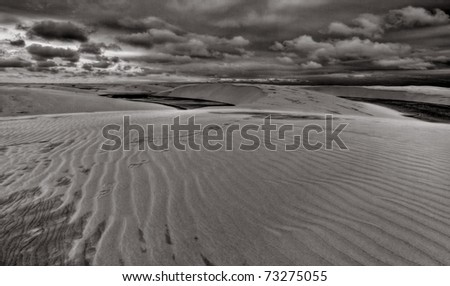 Black & White Image of Dunes in the North of Brazil at Sunset. - stock photo