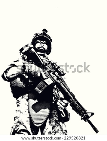 Black white image of US marine in uniform - stock photo