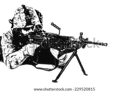 Black white image of US marine with mashine gun on white background - stock photo
