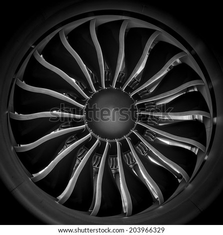 Black & White Jet Turbine Engine - stock photo