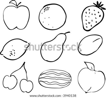 Black & White lineart Illustration of fruits, hand-drawn look: apple, orange, strawberry, lemon, pear, plum, cherries, watermelon, peach - stock photo