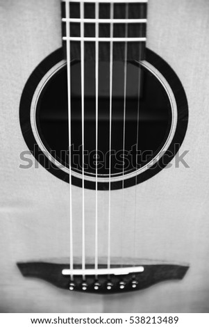 Black & white of guitar detail