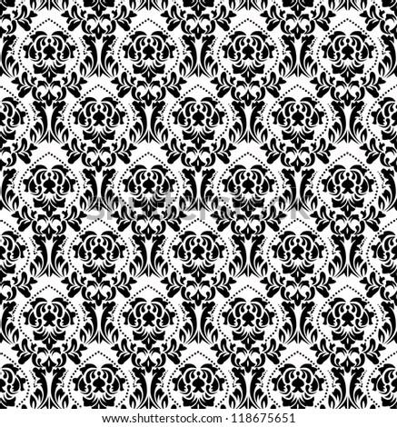 black white old wallpaper - stock photo