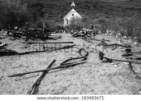 Black & white old west rubble - stock photo