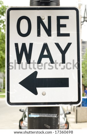 Black & white 'One Way' street sign - stock photo
