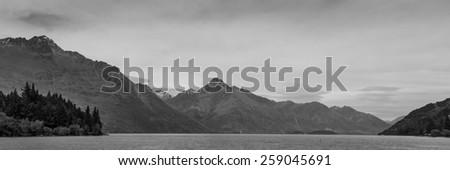 Black & White Panoramic view of Lake Wakatipu, Queenstown, New Zealand - stock photo