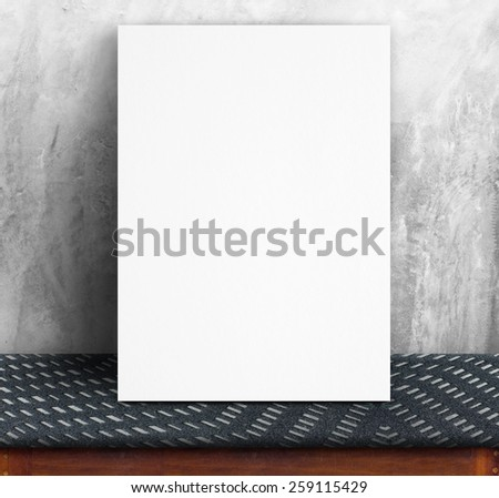 Black White paper poster lean at concrete wall and fabric table,Template mock up for adding your text - stock photo