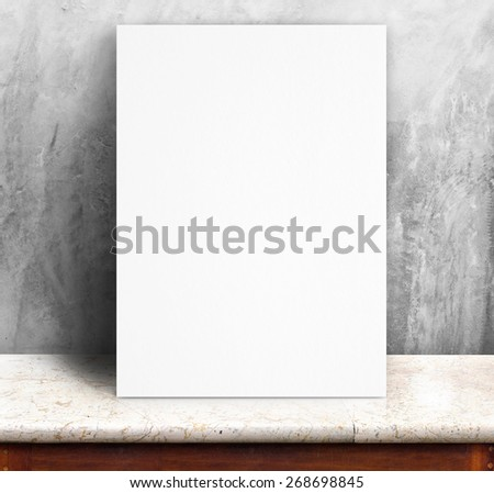 Black White paper poster lean at concrete wall and marble table,Template mock up for adding your text. - stock photo