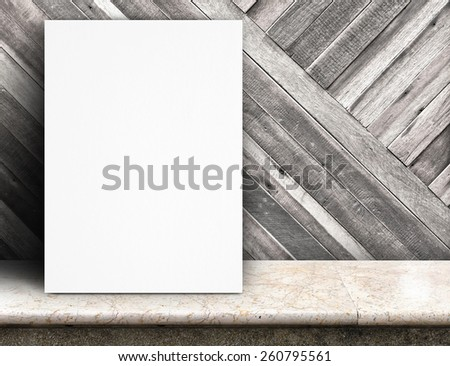 Black White paper poster lean at tropical wood wall and marble table,Template mock up for adding your text. - stock photo