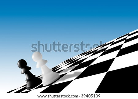 black & white pawns at the corner of chessboard on blue background - stock photo