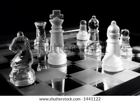 black & white photo of glass chessman