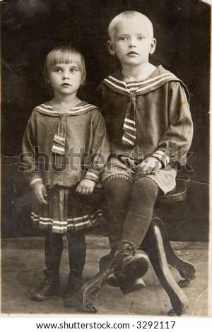 Black-white photo of the last century - stock photo