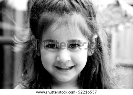 black & white portrait of beautiful young girl - stock photo