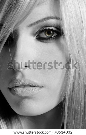 black white portrait of long hair blond girl - stock photo