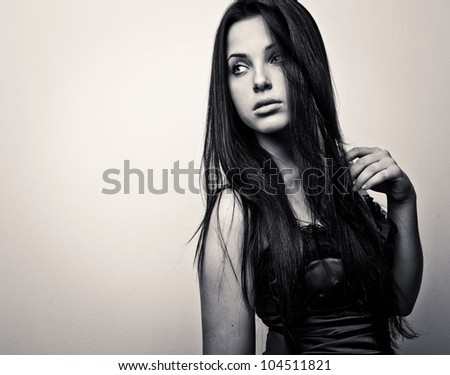 Black-white portrait of young romantic beauty. - stock photo