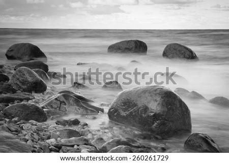Black & White rocky seascape scene - stock photo