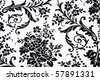 Black & white Seamless Floral Pattern - stock photo