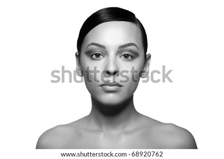 black white serious Female beauty portrait. Face closeup of stunning beautiful Isolated on white background. - stock photo