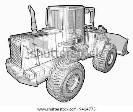 Black & White sketchy illustration of an Earthmover. - stock photo