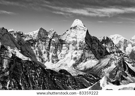 Black & white view of Ama Dablam from Island Peak