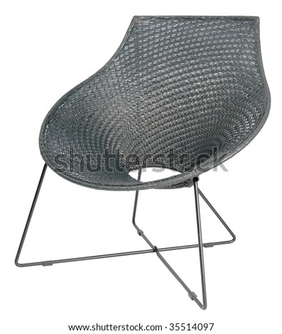 Black wicker chair on a metal frame. - stock photo
