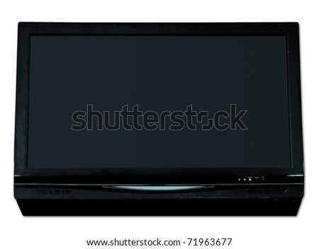Black widescreen LCD TV isolated on white background - stock photo