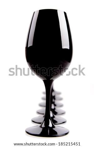 Black Wine Glasses For Blind Tasting Isolated On White - stock photo
